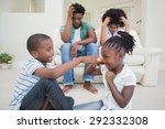 frustrated parents watching... | Shutterstock . vector #292332308