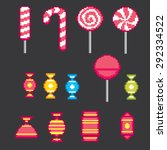 candys pixel icons set. old... | Shutterstock .eps vector #292334522