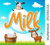 milk tag with cow and pail on... | Shutterstock .eps vector #292356116