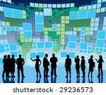 People are standing in front of a large display with world map, conceptual business illustration. The base map is from Central Intelligence Agency Web site. - stock vector