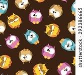 seamless pattern with cartoon... | Shutterstock .eps vector #292386665