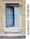 Old Blue Wooden Entrance Door...