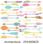 vector set of stylized or... | Shutterstock .eps vector #292400825