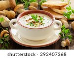 delicious soup puree with wild... | Shutterstock . vector #292407368