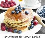 breakfast honey pancakes with... | Shutterstock . vector #292413416