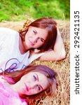 2 pretty girls having fun...   Shutterstock . vector #292421135