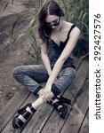 pretty teenage girl posing... | Shutterstock . vector #292427576
