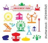 amusement park icons | Shutterstock .eps vector #292444565