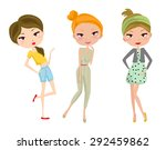 three happy young girls | Shutterstock .eps vector #292459862
