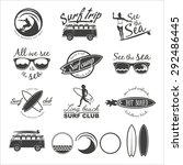 set of vintage surfing logos ... | Shutterstock .eps vector #292486445