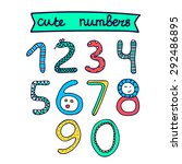 hand drawn doodle cute numbers. ... | Shutterstock .eps vector #292486895