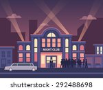 Stock vector building nightclub full house nightlife evening entertainment and event disco show flat vector 292488698