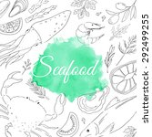 seafood. set of nautical food....   Shutterstock .eps vector #292499255