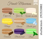 colorful french macarons with... | Shutterstock .eps vector #292523882