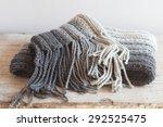 Wool Grey Scarf With Tassels...