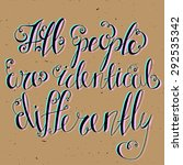 quotes all people are identical ... | Shutterstock .eps vector #292535342