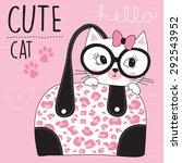 little cat in the bag vector... | Shutterstock .eps vector #292543952