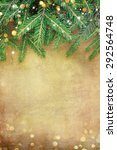 christmas fir tree border over... | Shutterstock . vector #292564748
