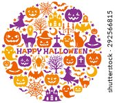 halloween icons in circle. | Shutterstock .eps vector #292566815