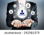 Small photo of STAKEHOLDER sign with businesspeople icon network on businessman hands