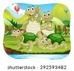Turtle Family By The River Bank