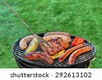 hot bbq grill with assorted... | Shutterstock . vector #292613102