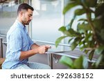 attentive businessman sending... | Shutterstock . vector #292638152
