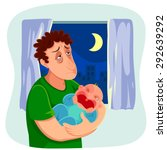 tired father carrying a crying... | Shutterstock .eps vector #292639292