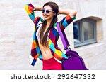 bright summer trendy portrait... | Shutterstock . vector #292647332