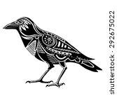 ethnic black raven silhouette.... | Shutterstock .eps vector #292675022