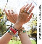women hands full of jewels is a ... | Shutterstock . vector #292682882