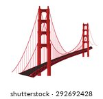 tall red bridge span. | Shutterstock . vector #292692428