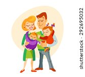 happy family portrait  wife ... | Shutterstock .eps vector #292695032