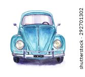 Hand Painted Vintage Blue Car....