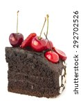 chocolate cake with cherries. | Shutterstock . vector #292702526