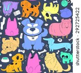cute colorful dogs. seamless... | Shutterstock .eps vector #292725422