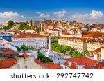 lisbon  portugal skyline view... | Shutterstock . vector #292747742