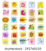 doodle food set of various... | Shutterstock .eps vector #292760135