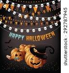 happy halloween party pumpkins...   Shutterstock .eps vector #292787945
