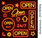 orange open neon sign | Shutterstock .eps vector #292789856