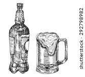 hand drawn beer bottle and cup. ...   Shutterstock .eps vector #292798982