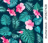tropical flower seamless... | Shutterstock .eps vector #292827428