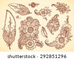 flowers and feathers henna... | Shutterstock .eps vector #292851296