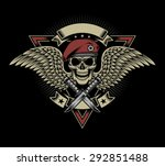 military skull with wings and... | Shutterstock .eps vector #292851488