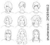 Vector Set Of  Sketch Female...