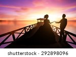 silhouette of wedding couple in ... | Shutterstock . vector #292898096