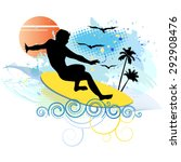 surfing   vector illustration | Shutterstock .eps vector #292908476
