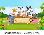 Stock vector cartoon wild animals holding banner 292916798