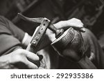 old artisian shoemaker hit...   Shutterstock . vector #292935386