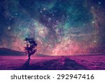 red alien landscape with alone... | Shutterstock . vector #292947416